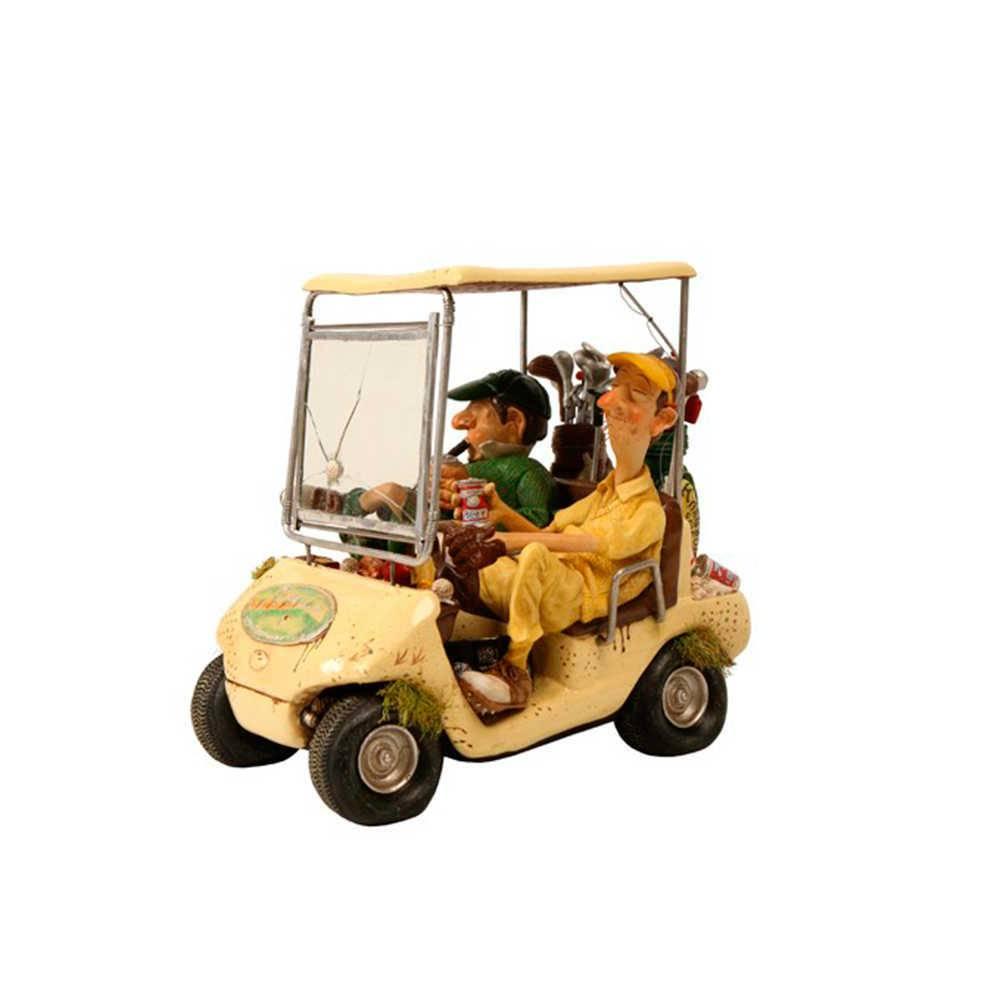 Escultura Carro de Golf Bege em Resina - 20x18 cm