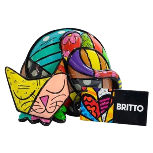 Escultura Cat Color - Romero Britto - em Resina - 13x10 cm