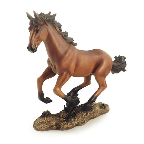 Escultura Cavalo Galopando Grande em Resina Oldway - 51x41cm