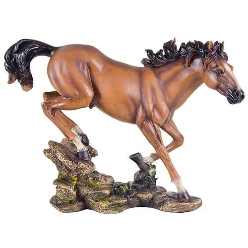 Escultura Cavalo Galopando Médio em Resina Oldway - 35x26cm