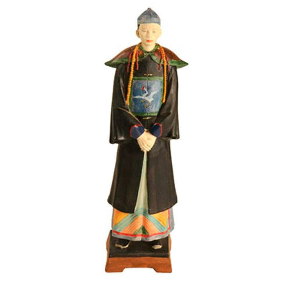Escultura Chinês Oficial Multicolorido em Resina - 30x7 cm