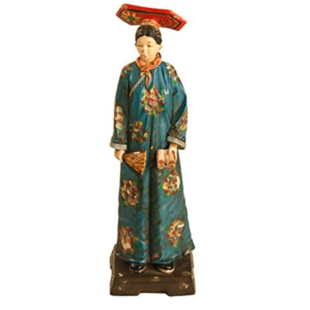 Escultura Chinesa Dinastia Qing Azul em Resina - 23x16 cm