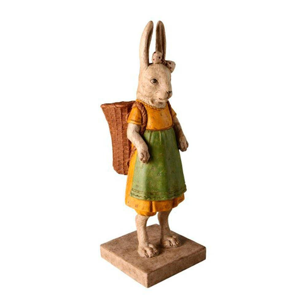 Escultura Coelha Camponesa com Balaio em Resina - 41x17 cm