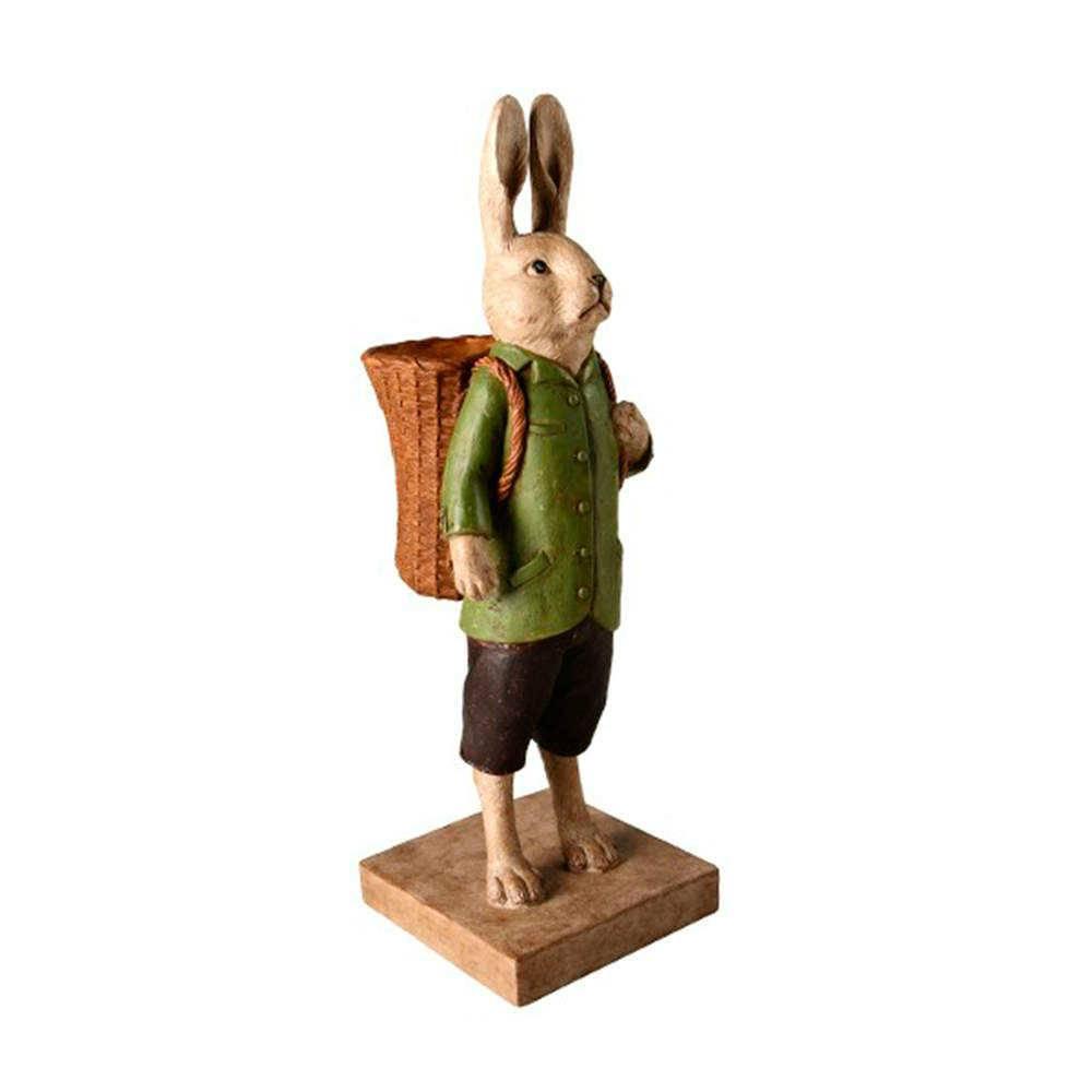 Escultura Coelho Camponês com Balaio Grande em Resina - 41x17 cm