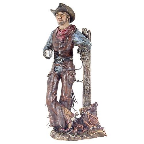 Escultura Cowboy c/ Charuto e Café em Resina Oldway - 55x26cm