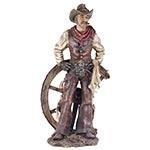 Escultura Cowboy c/ Mãos na Cintura em Resina Oldway - 53x28cm