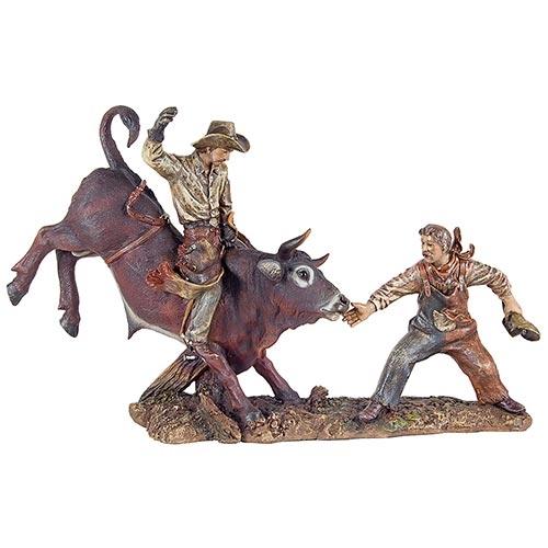 Escultura Cowboy no Touro e Palhaço Rodeio em Resina Oldway - 51x33cm