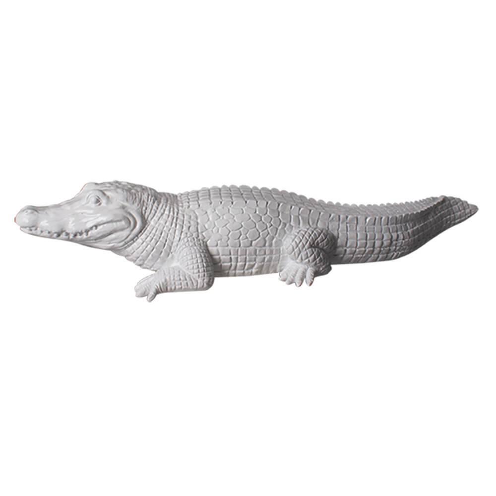 Escultura Croco Closed Mouth Branco Brilhante em Resina - Urban - 65x16 cm