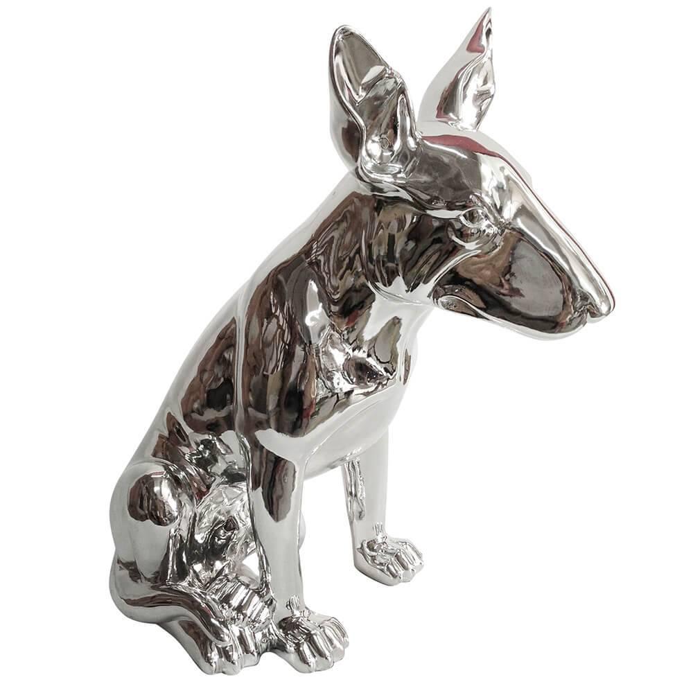 Escultura Dog Bull Terrier Prata em Resina - Urban - 51x46 cm
