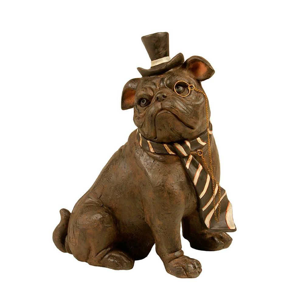 Escultura Dog Sentado de Gravata e Chapéu em Resina - 26x20 cm
