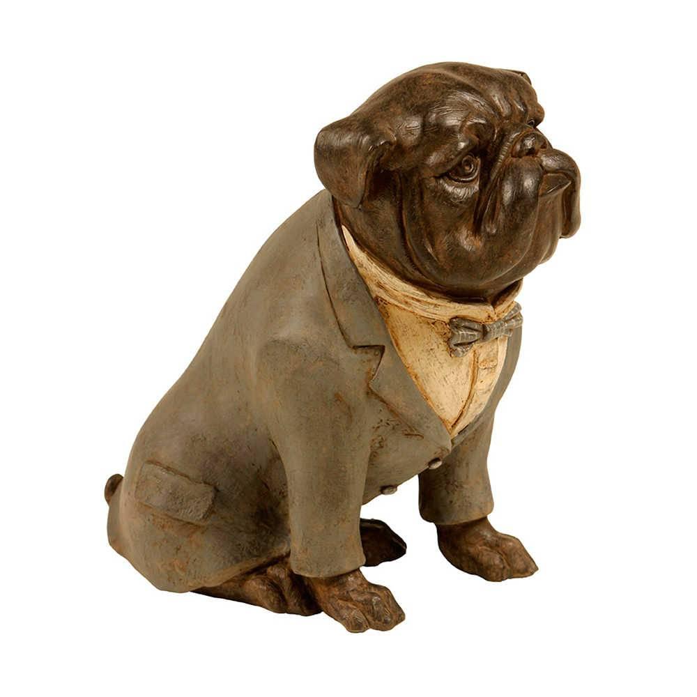 Escultura Dog Sentado de Palitó Cinza em Resina - 22x20 cm