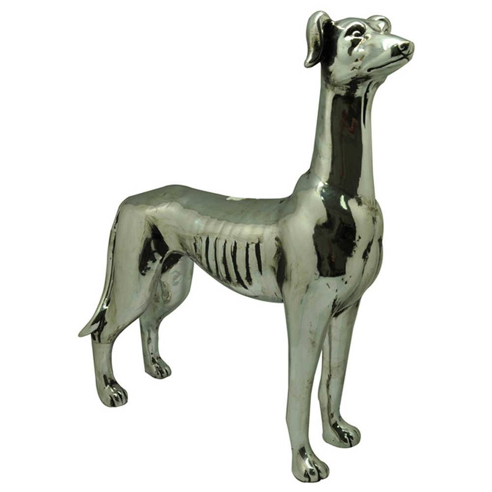 Escultura Dog Stay Alert Grande Prata em Cerâmica - Urban - 37,5x11,5 cm