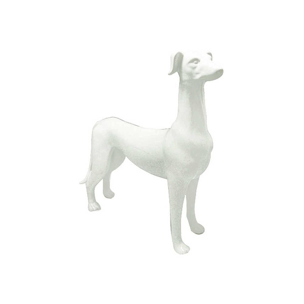 Escultura Dog Stay Alert Pequeno Branco em Cerâmica - Urban - 29x9,5 cm