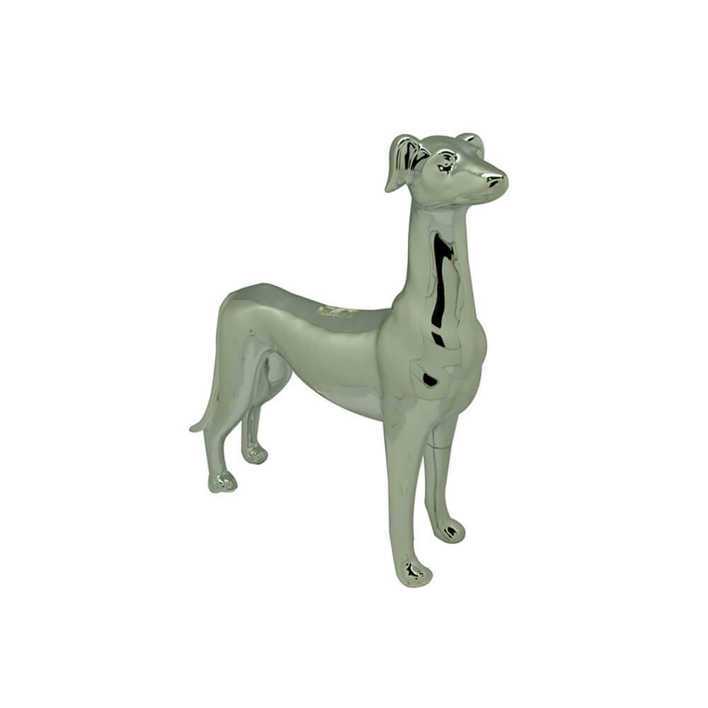 Escultura Dog Stay Alert Pequeno Prata em Cerâmica - Urban - 31x29 cm