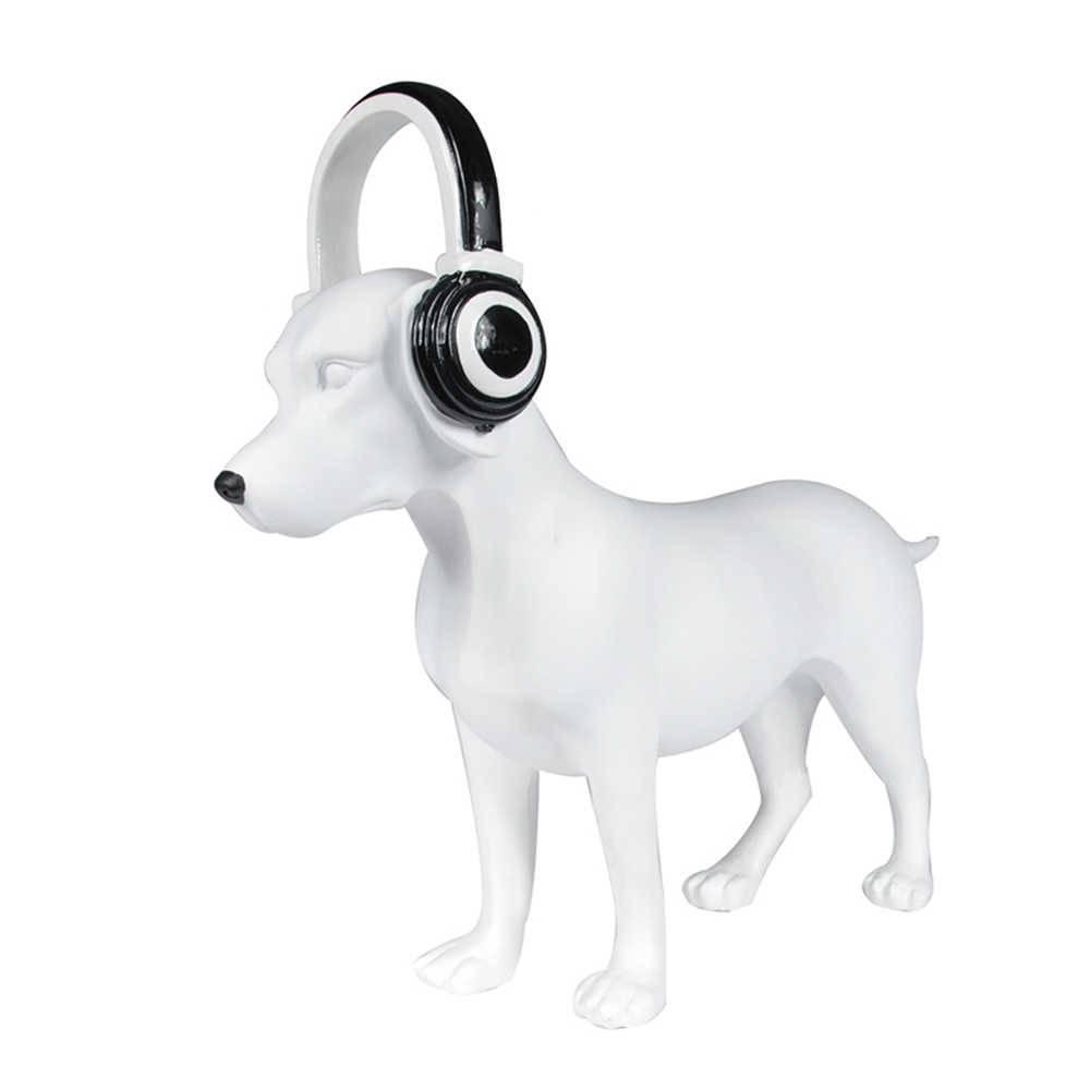Escultura Dog With Headphone Branco em Resina - Urban - 59,5x17,5 cm