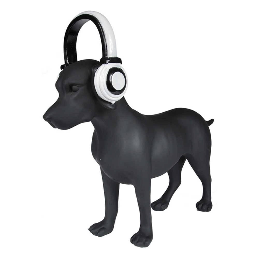 Escultura Dog With Headphone Preto em Resina - Urban - 59,5x17,5 cm