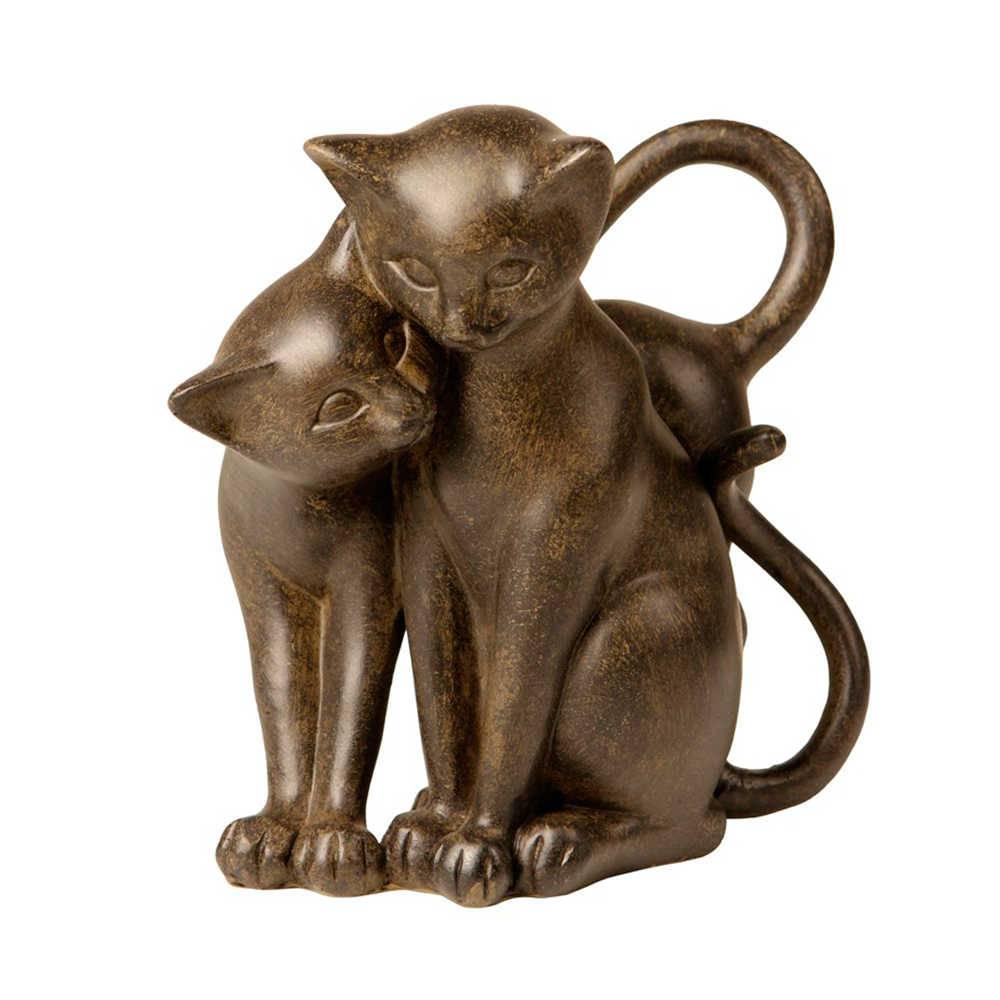 Escultura Dois Gatos Marrom Juntos em Resina - 17x16 cm