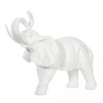 Escultura Elefante Branco em Resina - 45x38 cm