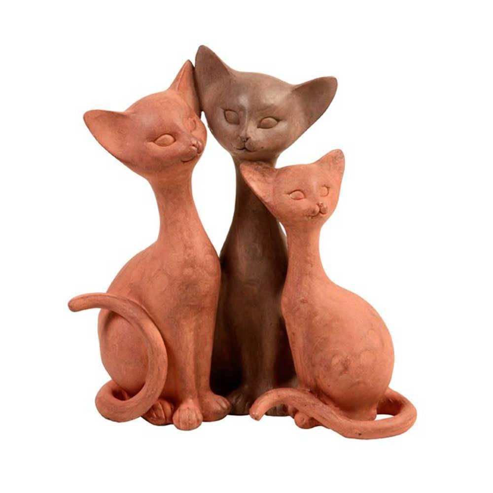 Escultura Família de Gatos em resina - 23x20 cm