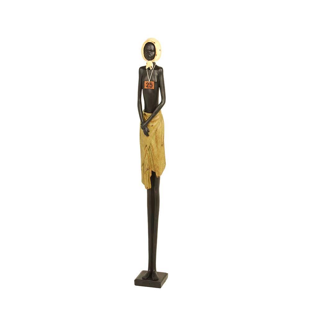 Escultura Garoto Camponês Africano em Resina - 79x16 cm