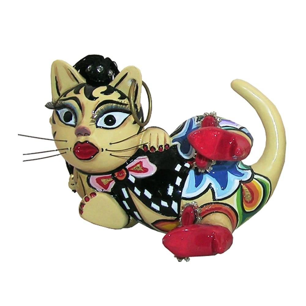 Escultura Gata Amy Multicolorido em Cerâmica - 12x7 cm