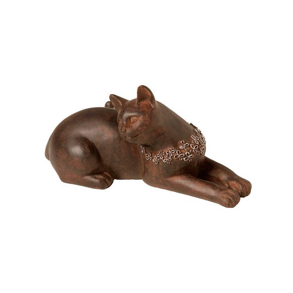 Escultura de Gato Deitado com Colar em Resina - 22x11,5 cm