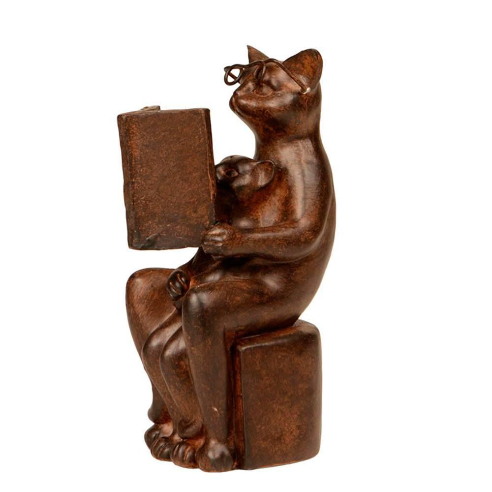 Escultura de Gato com Filhote Lendo em Resina - 16x6 cm