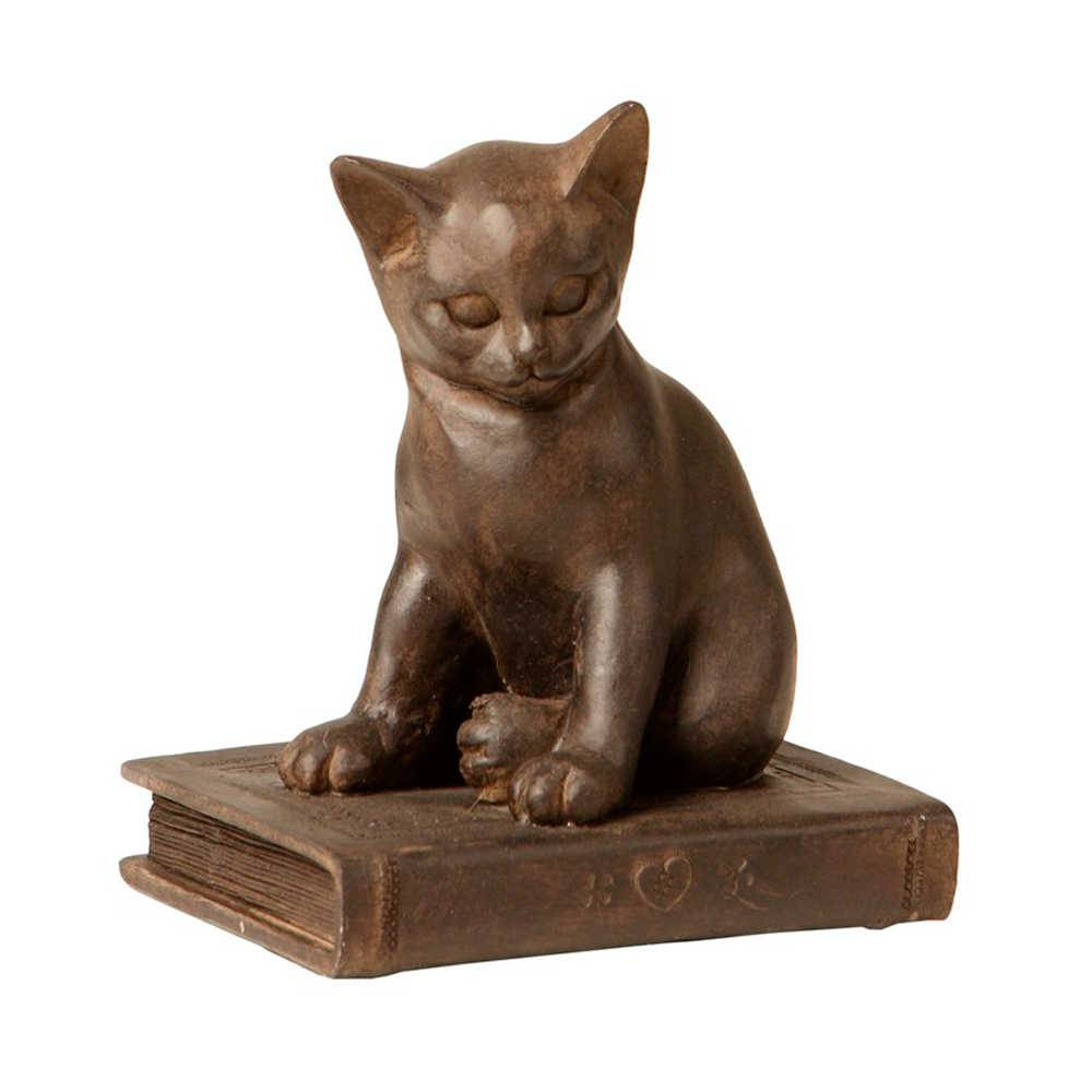 Escultura de Gato Marrom Sobre o Livro em Resina - 16x13 cm