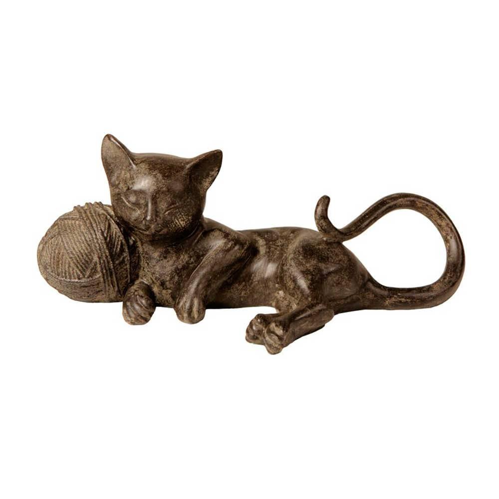 Escultura de Gato com Novelo de Linha em Resina - 30x13 cm