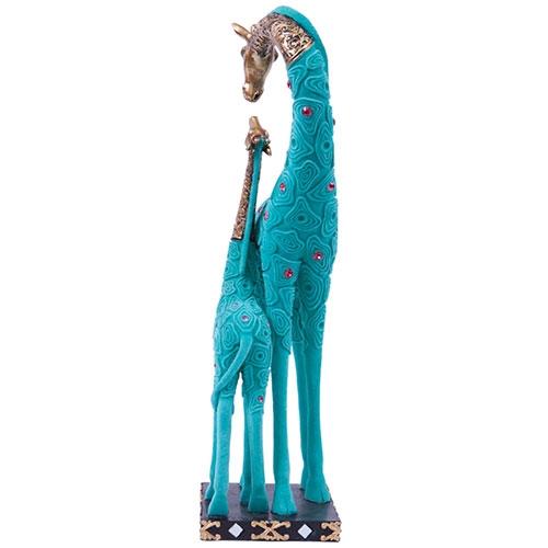 Escultura Girafa com Filhote Jade em Resina - 42x16 cm