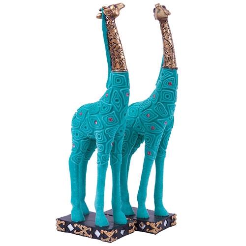 Escultura Girafas Jade em Resina - 31x9 cm