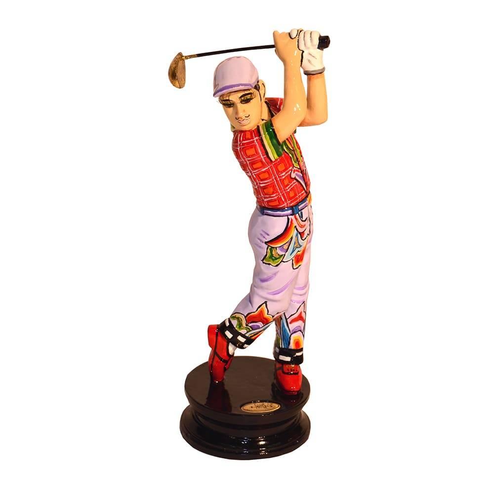 Escultura Golfista Robert Multicolorido em Cerâmica - 16x5 cm