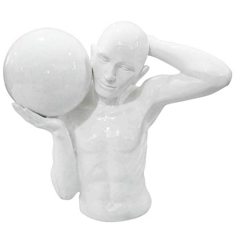 Escultura Half Body With a Ball Branco em Resina - Urban - 49x27 cm
