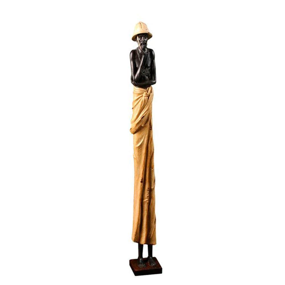 Escultura Homem Africano em Resina - 80x16 cm