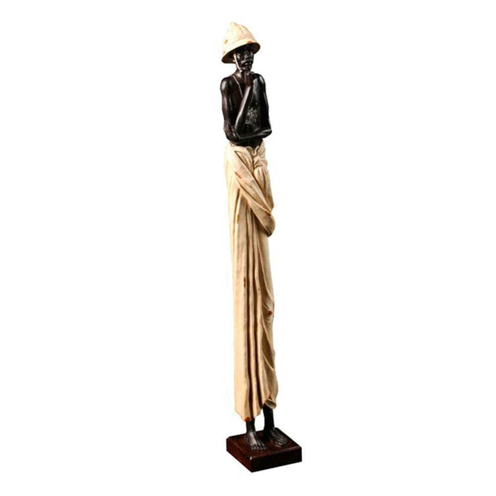 Escultura Homem Africano com Traje Branco em Resina - 58x16 cm