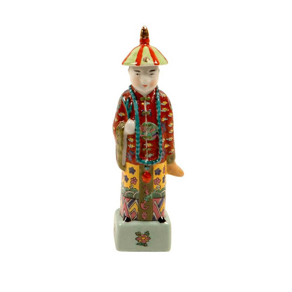 Escultura de Homem Chinês com Colar em Porcelana - 24x6 cm