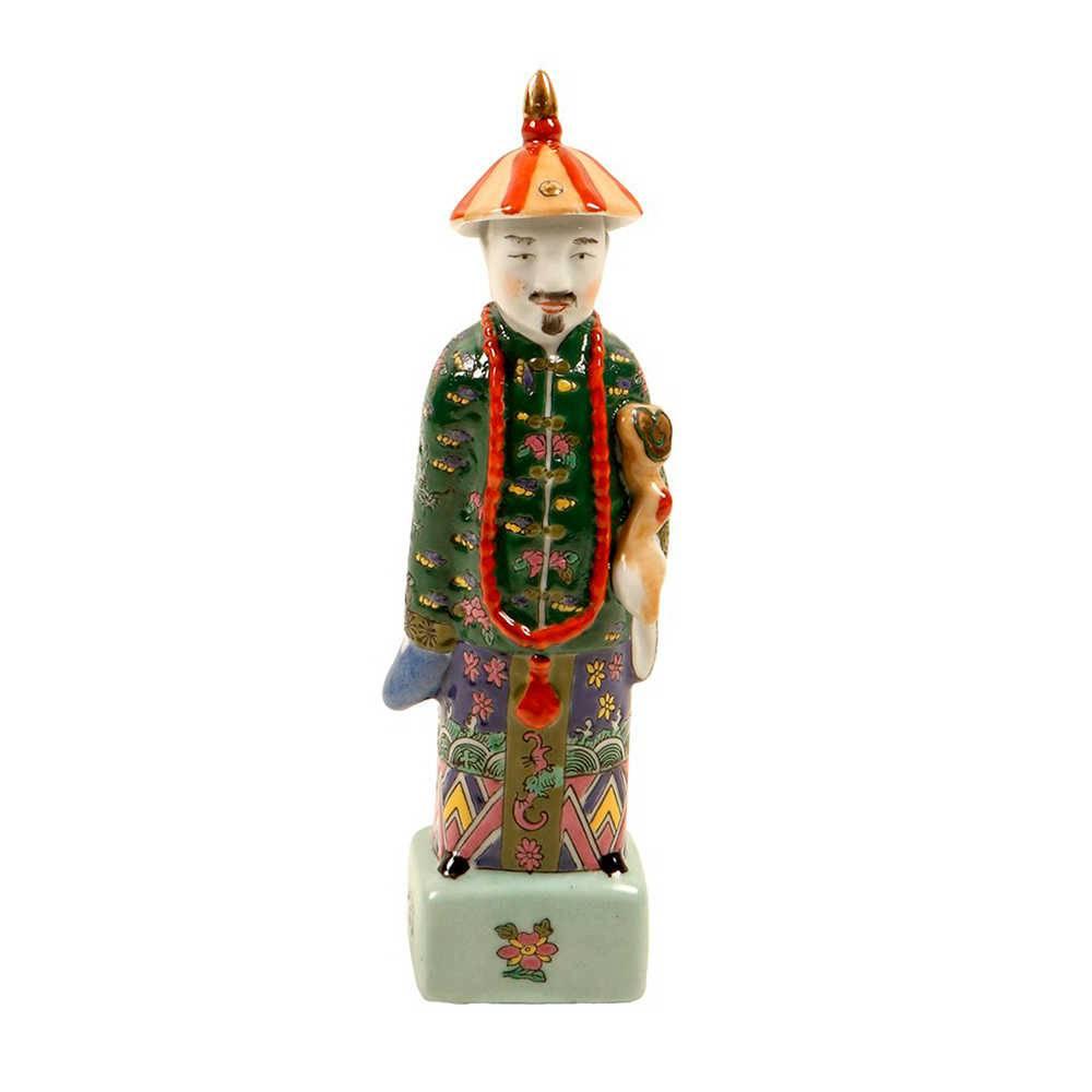 Escultura de Homem Chinês em Porcelana - 28x6 cm