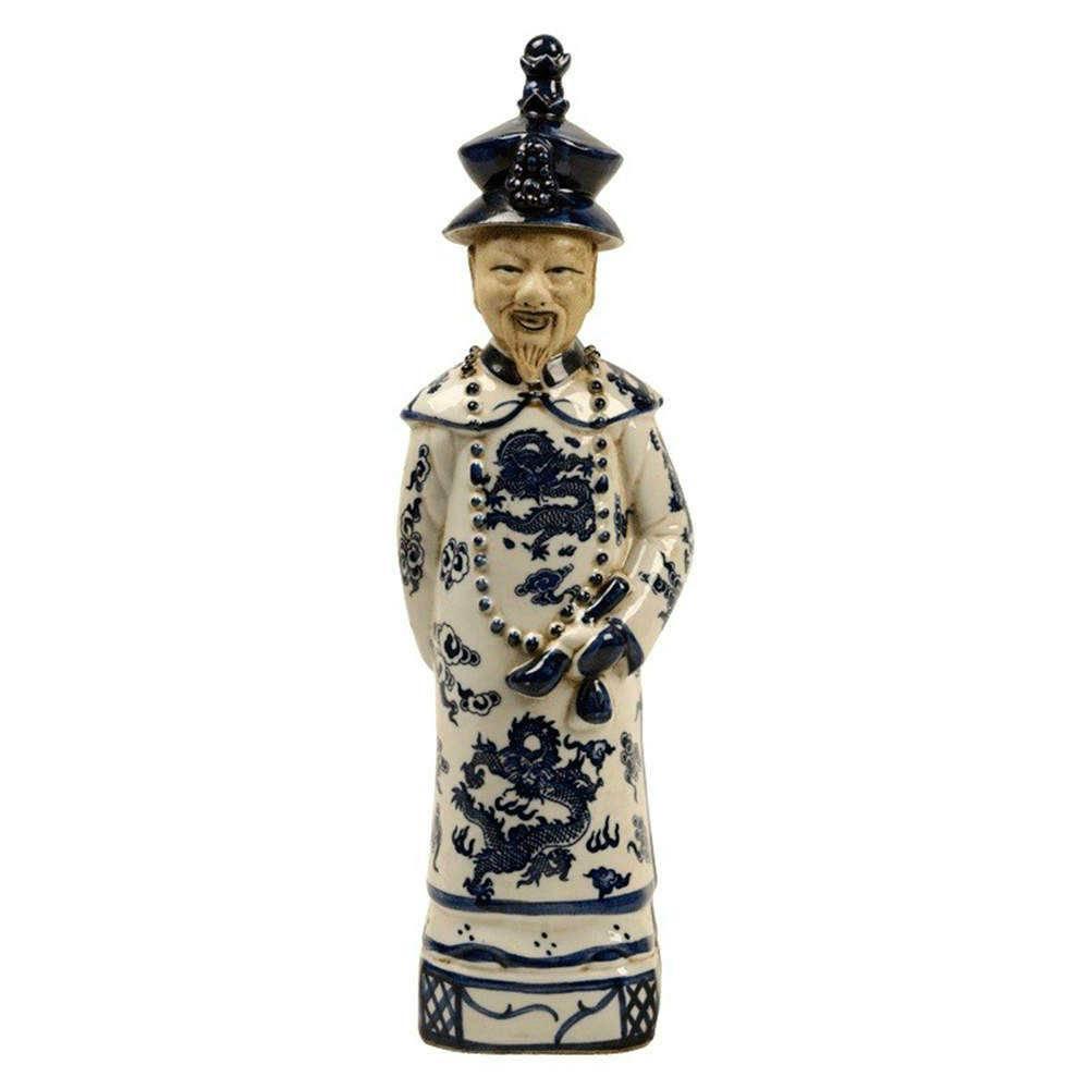 Escultura Imperador Antigo Azul e Branco em Porcelana - 39x10 cm