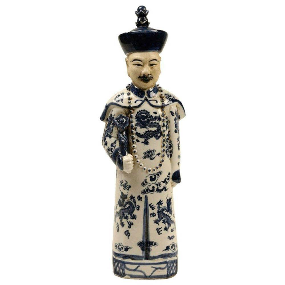 Escultura Imperador Azul e Branco em Porcelana - 39x10 cm
