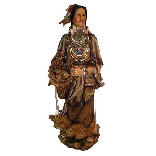 Escultura Índia c/ Cesto em Resina Oldway - 91x37cm
