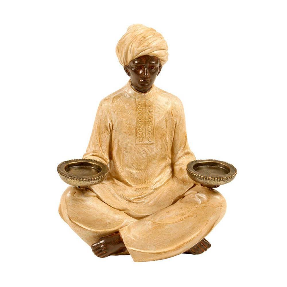 Escultura Indiano Sentado com Duas Bandejas Bege e Marrom em Resina - 25x19 cm