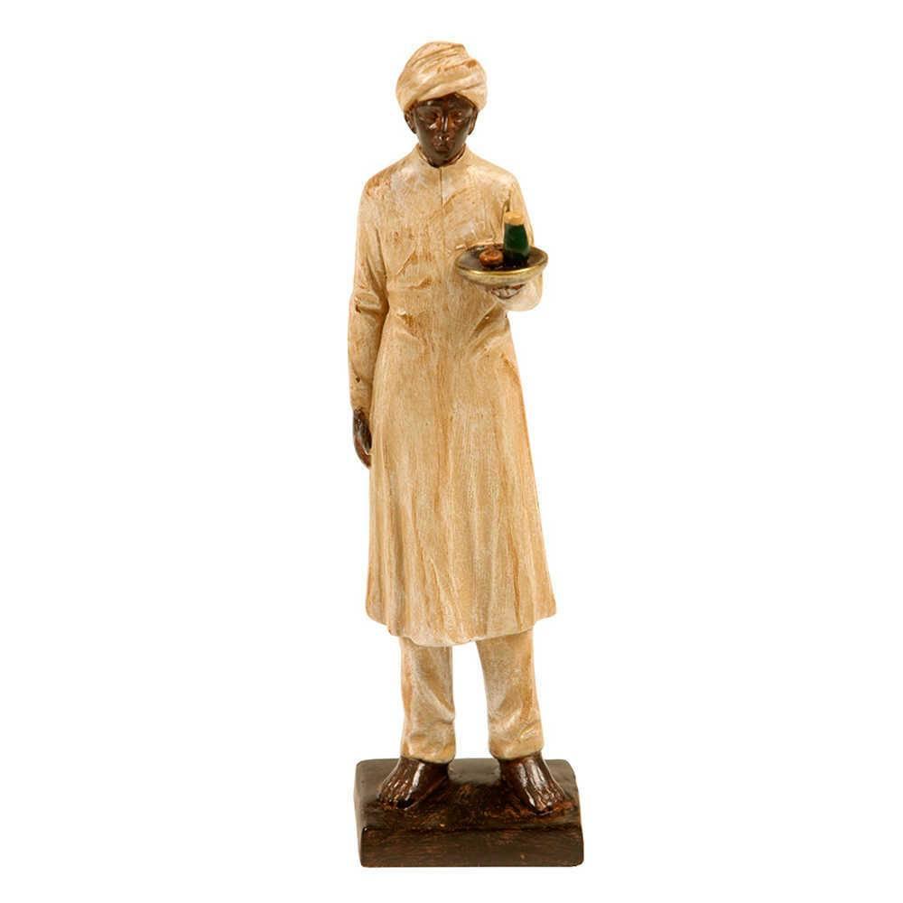 Escultura Indiano com Turbante e Túnica Bege e Marrom em Resina - 22x7 cm