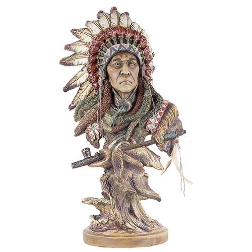 Escultura Índio c/ Cocar de Penas e Cachimbo em Resina Oldway - 46x25cm