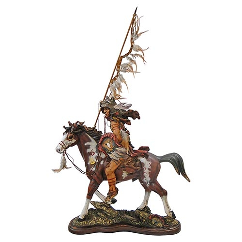 Escultura Índio Guerreiro a Cavalo c/ Lança em Resina Oldway - 64x63cm