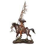 Índio Guerreiro a Cavalo c/ Lança em Resina Oldway