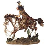 Índio Guerreiro a Cavalo c/ Machado em Resina Oldway