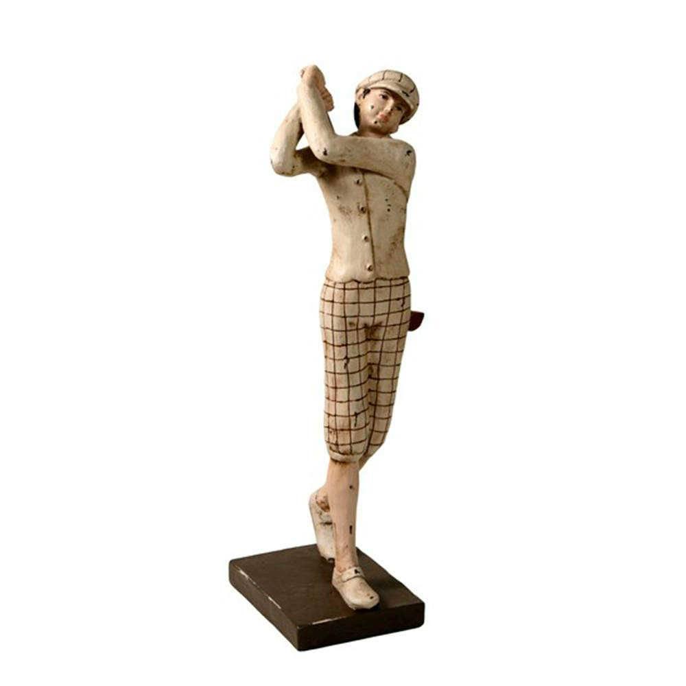 Escultura Jogador de Golf Bege e Marrom em Resina - 50x17 cm