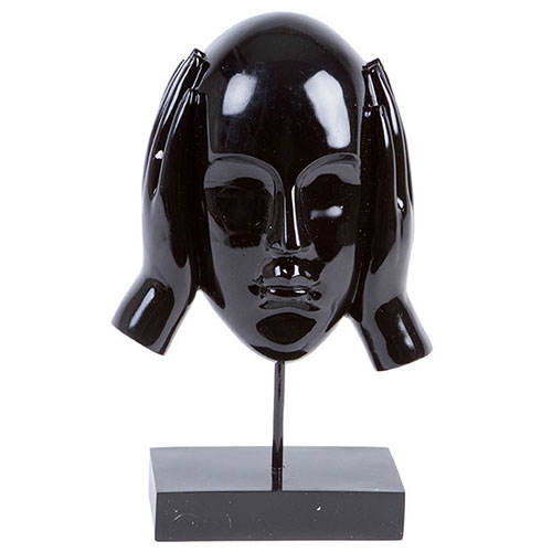 Escultura Máscara Surdo Black em Resina - 31x18 cm