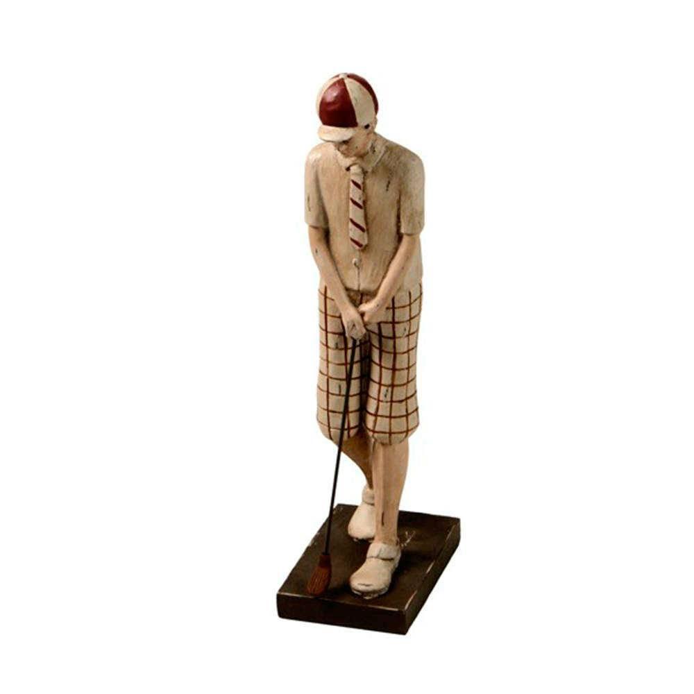 Escultura Menino de Short Bege Jogando Golf Pequeno em Resina - 32x16 cm