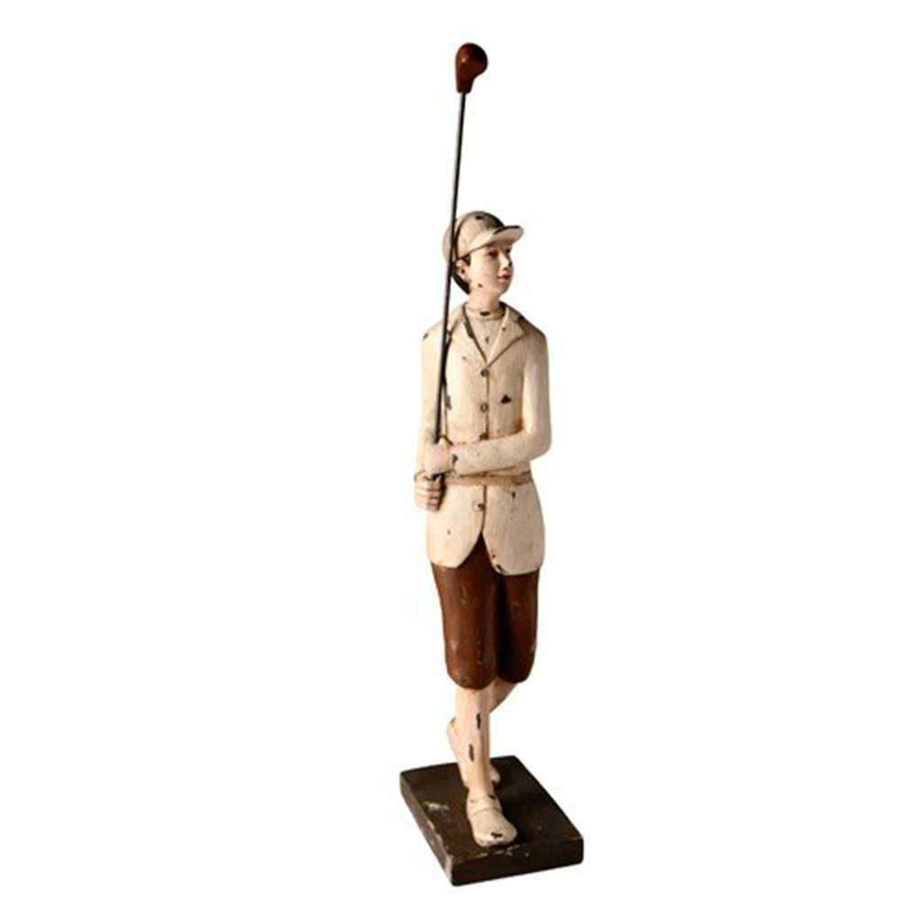 Escultura Menino com Taco de Golf Marrom e Branco em Resina - 50x13 cm
